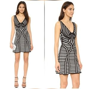 Herve Leger Milana Black White Gray Bandage Dress